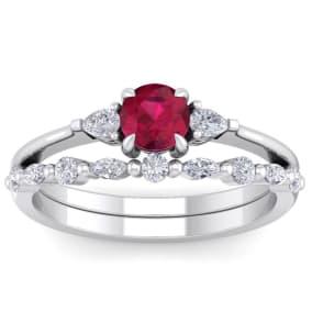 1 Carat Ruby and Diamond Antique Style Bridal Set In 14 Karat White Gold