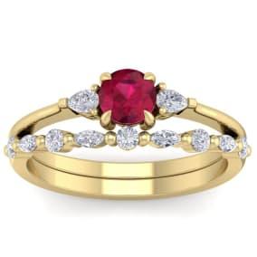 1 Carat Ruby and Diamond Antique Style Bridal Set In 14 Karat Yellow Gold