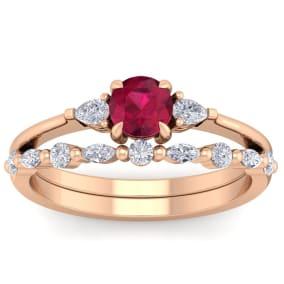 1 Carat Ruby and Diamond Antique Style Bridal Set In 14 Karat Rose Gold