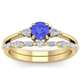 1 Carat Tanzanite and Diamond Antique Style Bridal Set In 14 Karat Yellow Gold
