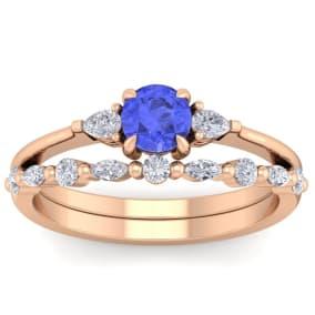 1 Carat Tanzanite and Diamond Antique Style Bridal Set In 14 Karat Rose Gold
