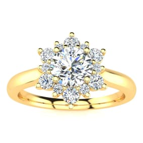 1 1/2 Carat Round Shape Flower Halo Moissanite Engagement Ring In 14K Yellow Gold