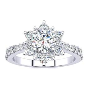 2 Carat Round Shape Flower Halo Moissanite Engagement Ring In 14K White Gold