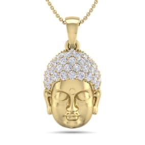 1/2 Carat Diamond Buddha Necklace In 14 Karat Yellow Gold, 18 Inches
