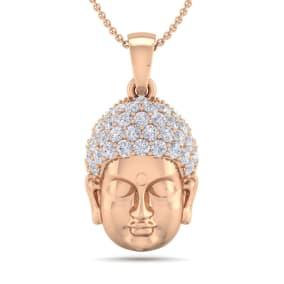 1/2 Carat Diamond Buddha Necklace In 14 Karat Rose Gold, 18 Inches