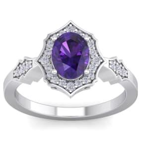 1 1/3 Carat Oval Shape Amethyst and Diamond Ring In 14 Karat White Gold