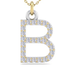 B Initial Necklace In 14 Karat Yellow Gold With 27 Diamonds