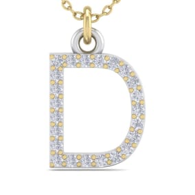 D Initial Necklace In 14 Karat Yellow Gold With 23 Diamonds