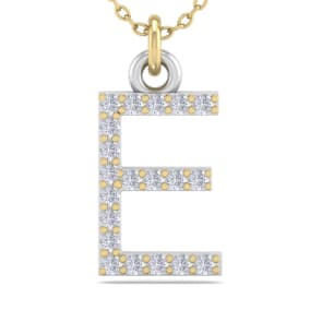 E Initial Necklace In 14 Karat Yellow Gold With 20 Diamonds