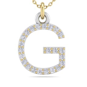 G Initial Necklace In 14 Karat Yellow Gold With 23 Diamonds