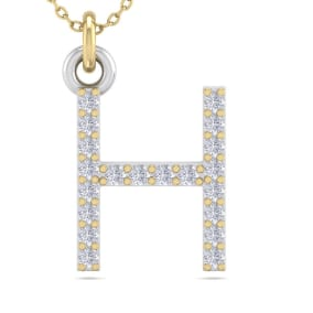 H Initial Necklace In 14 Karat Yellow Gold With 20 Diamonds
