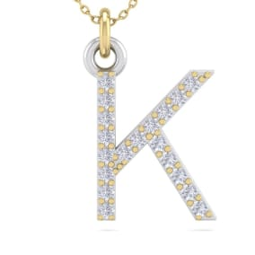 K Initial Necklace In 14 Karat Yellow Gold With 19 Diamonds