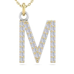 M Initial Necklace In 14 Karat Yellow Gold With 29 Diamonds