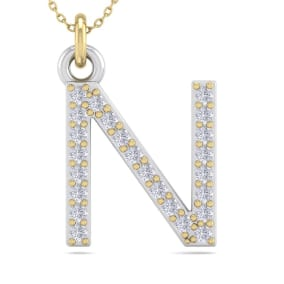 N Initial Necklace In 14 Karat Yellow Gold With 24 Diamonds