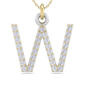 W Initial Necklace In 14 Karat Yellow Gold With 31 Diamonds