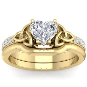 1 Carat Heart Shape Diamond Claddagh Bridal Set In 14 Karat Yellow Gold