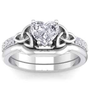1 Carat Heart Shape Diamond Claddagh Bridal Set In 14 Karat White Gold