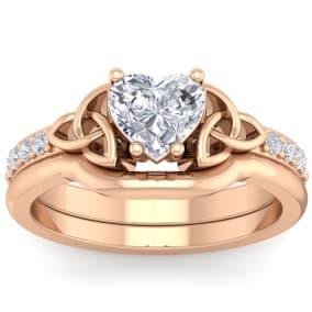 1 Carat Heart Shape Diamond Claddagh Bridal Set In 14 Karat Rose Gold