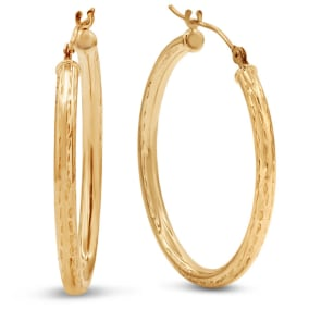 CLEARANCE BLOWOUT....OLD GOLD PRICE! 10 Karat Yellow Gold Polish Finished Diamond Cut 28mm Hoop Earrings With Hinge With Notched Closure