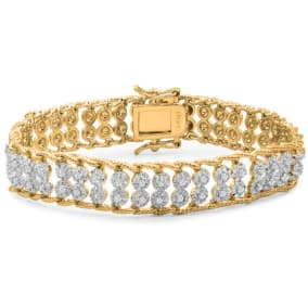 BLOWOUT, FINAL SALE!! 2-Row Rope Look Natural Raw Diamond Bracelet, Yellow Gold Overlay, 7 Inches.  Big Fantastic Look!