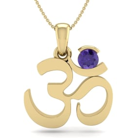 1/4 Carat Amethyst Om Necklace In 14 Karat Yellow Gold, 18 Inches