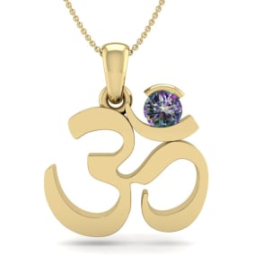 1/3 Carat Mystic Topaz Om Necklace In 14 Karat Yellow Gold, 18 Inches
