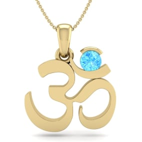 1/3 Carat Blue Topaz Om Necklace In 14 Karat Yellow Gold, 18 Inches