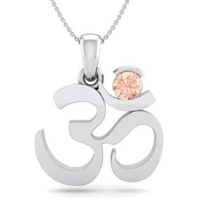 1/4 Carat Morganite Om Necklace In 14 Karat White Gold, 18 Inches