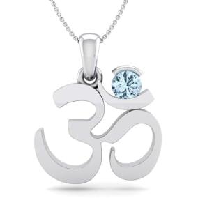 1/4 Carat Aquamarine Om Necklace In 14 Karat White Gold, 18 Inches