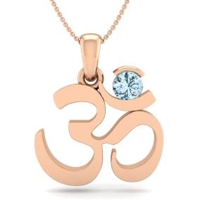 1/4 Carat Aquamarine Om Necklace In 14 Karat Rose Gold, 18 Inches