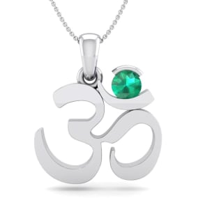 1/4 Carat Emerald Om Necklace In 14 Karat White Gold, 18 Inches