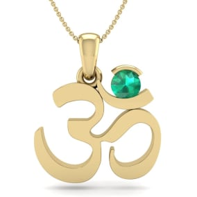 1/4 Carat Emerald Om Necklace In 14 Karat Yellow Gold, 18 Inches