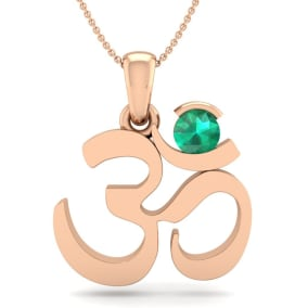 1/4 Carat Emerald Om Necklace In 14 Karat Rose Gold, 18 Inches