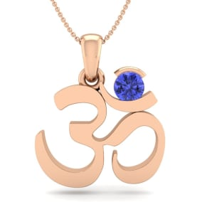 1/4 Carat Tanzanite Om Necklace In 14 Karat Rose Gold, 18 Inches
