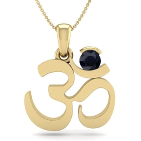 1/3 Carat Sapphire Om Necklace In 14 Karat Yellow Gold, 18 Inches