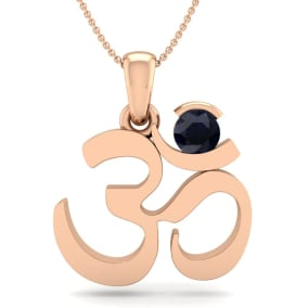 1/3 Carat Sapphire Om Necklace In 14 Karat Rose Gold, 18 Inches