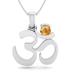 1/4 Carat Citrine Om Necklace In 14 Karat White Gold, 18 Inches