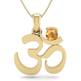 1/4 Carat Citrine Om Necklace In 14 Karat Yellow Gold, 18 Inches