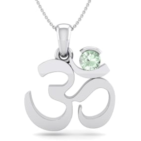 1/4 Carat Green Amethyst Om Necklace In 14 Karat White Gold, 18 Inches