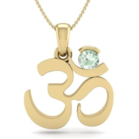 1/4 Carat Green Amethyst Om Necklace In 14 Karat Yellow Gold, 18 Inches
