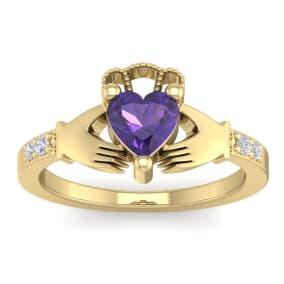 3/4 Carat Heart Shape Amethyst and Diamond Claddagh Ring In 14 Karat Yellow Gold