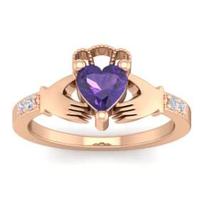 3/4 Carat Heart Shape Amethyst and Diamond Claddagh Ring In 14 Karat Rose Gold
