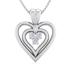 0.04 Carat Three Diamond Heart Necklace in 14 Karat White Gold, 18 Inches