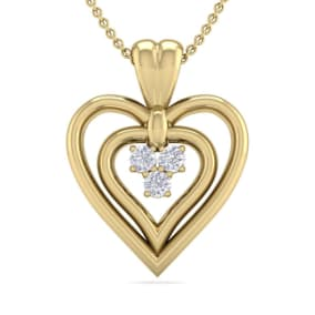 0.04 Carat Three Diamond Heart Necklace in 14 Karat Yellow Gold, 18 Inches