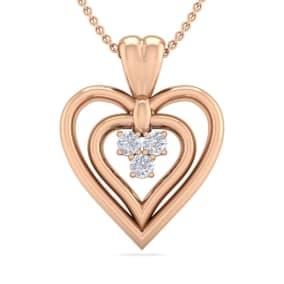 0.04 Carat Three Diamond Heart Necklace in 14 Karat Rose Gold, 18 Inches