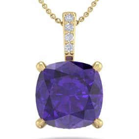 1 Carat Cushion Cut Amethyst and Hidden Halo Diamond Necklace In 14 Karat Yellow Gold, 18 Inches