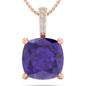 1 Carat Cushion Cut Amethyst and Hidden Halo Diamond Necklace In 14 Karat Rose Gold, 18 Inches