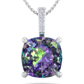 1 1/4 Carat Cushion Cut Mystic Topaz and Hidden Halo Diamond Necklace In 14 Karat White Gold, 18 Inches