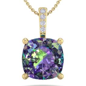 1 1/4 Carat Cushion Cut Mystic Topaz and Hidden Halo Diamond Necklace In 14 Karat Yellow Gold, 18 Inches