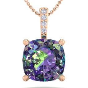 1 1/4 Carat Cushion Cut Mystic Topaz and Hidden Halo Diamond Necklace In 14 Karat Rose Gold, 18 Inches